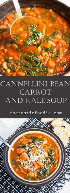 This Cannellini Bean, Carrot, and Kale Soup is pure healthy comfort food! This easy stove top Dutch oven soup recipe is the perfect vegetarian weeknight dinner. It's so tasty with a few slices of French bread. It's great during the fall, winter, or all ye Kale Soup Recipes, Healthy Recipes, Bean Recipes, Whole Food Recipes, Vegetarian Recipes, Cooking Recipes, Carrot Recipes, Vegetarian Kale Soup, Healthy Soups