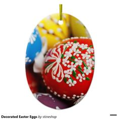 Decorated Easter Eggs Double-Sided Oval Ceramic Christmas Ornament