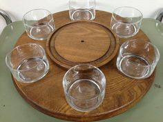 Vintage Wood and Glass Fondue Lazy Susan with by PurpleIrisVintage, $39.00