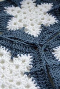 New Crochet Snowflake Granny Square Pattern I am working.  See this Linkhttp://www.pinterest.com/pin/554083560378609159/, the picture of the snowflake hexagon inspired me.  Love this Crochet Snowflake Hexagon.  A gorgeous blue and white hexagon crochet snow flake pattern