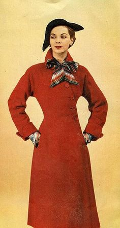 #1950s #vintage #retro #fifties #style #fashion #red #coat #beautiful #hats