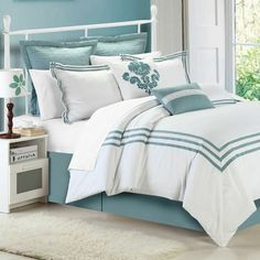 Chic Home Cosmo 12 Piece Comforter Set Size: King, Color: White / Sage Bed Sets, King Comforter Sets, Bedding Sets, Aqua Bedding, Beach Bedding, Bed In A Bag, Luxury Bedding, Bedroom Decor, Decor Room