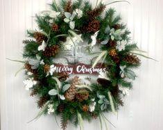 Door Wreaths and Decor For All Seasons by DoorWreathsbyAnne Christmas Wreaths For Front Door, Fall Wreaths, Door Wreaths, Church Interior Design, Silk Flower Arrangements, Floral Centerpieces, Flower Decorations, Fall Decor, Seasons