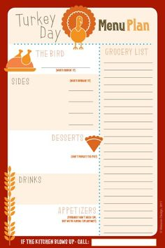 Awesome Thanksgiving Menu Planner!  Keep things organized!  Enough with the yellow stickies!