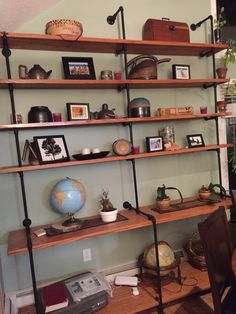 Industrial piping shelves Industrial Pipe Shelves, Vintage Industrial, Bookshelves, Bookcase, Playroom, New Homes, Decorating Ideas, Boys, Inspiration