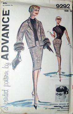 Edith Head, Paramount Studios, vintage fashion design for Advance sewing patterns  1950s