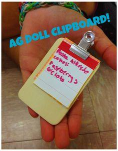 "18"" Doll American Girl Doll Mini Clipboard-School Supplies Grocery List #agdoll #18""doll #clipboard #mini"