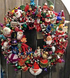 me ~ ~Handmade Vintage Christmas Ornament Wreath~Rocking Horse~Toys Christmas Ornament Wreath, Xmas Wreaths, Vintage Christmas Ornaments, Retro Christmas, Rustic Christmas, Winter Christmas, Ornament Crafts, Wreath Crafts, Vintage Holiday