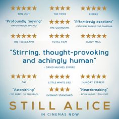 #StillAlice is getting wonderful reviews from the critics - find out why at a cinema near you! http://www.StillAlice.co.uk #JulianneMoore #KristenStewart #AlecBaldwin #KateBosworth #HunterParrish #LisaGenova
