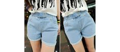 Retro Style Bleach Wash High Elastic Waist Two Buttons Embellished Turn-Up Design Denim Shorts For Women (AS THE PICTURE,L) China Wholesale - Sammydress.com