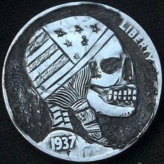 "DAVID ""COALBURN"" RAYMOND HOBO NICKEL - BANDANNA SKULL - 1937 BUFFALO PROFILE Hobo Nickel, Coins, Skull, Carving, Personalized Items, Buffalo, David, Profile, User Profile"