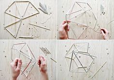 This DIY Hanging Diamond Decor is fun to hang as an overhead table centrepiece or for photo backdrops, but could easily be left up all year! Geometric Designs, Geometric Shapes, Diy Luminaire, Diy And Crafts, Arts And Crafts, Diamond Decorations, Diy Hanging, Hanging Decorations, Blog Deco
