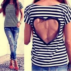 Stylish Scoop Neck Striped Hollow Out Short Sleeve T-Shirt For Women T-Shirts | RoseGal.com Mobile