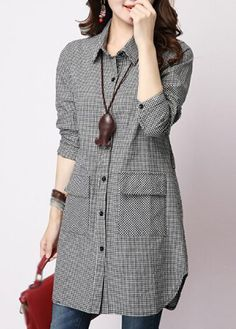 Plaid Print Turndown Collar Long Shirt | lulugal.com - USD $24.49