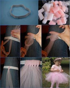 Easy, no-sew tutu for dress-up and play. Tutu made from strips of tulle that is tied! Diy Tutu, No Sew Tutu, Tulle Tutu, Ribbon Tutu, Organza Ribbon, Tulle Dress, Dress Skirt, Tutu Sans Couture, Diy Couture