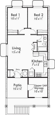 This charming cottage duplex plan has two unique units. Unit A is ...