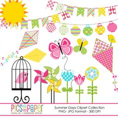 Summer Days Clipart Collection - 18 cliparts for scrapbooking, card making and more.
