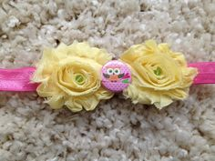 Pink and Yellow Shabby Flower Owl Infant by HannahHeadbands, $8.00
