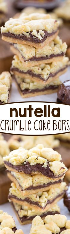 Nutella Crumble Cake Bars - this easy cake mix recipe is a bar cookie filled with NUTELLA!! Is there anything better? | Posted By: DebbieNet.com |