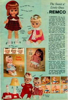 "Catalog image showing a selection of mechanical and ""gimmick"" dolls including Chatterbox, Baby Chatterbox, Glad 'N Sad, Huggy Katrina, Snuggle Bun, and Play-All-6 play set (modeled with Baby Snuggle doll), United States, 1967, by Remco."