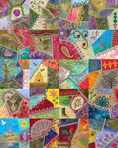 crazy quilt...love the fabrics and the simple beading on them ... : how to make crazy quilt - Adamdwight.com