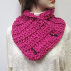 Pink Chunky Scarf, Fashion Scarves, Womans Neckwarmer, Gift For Women, Button Wrap Scarf, Chunky Knit Scarf, Chunky Scarves, Crochet Scarves by CeciliaAnnDesigns on Etsy