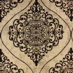This is a gold and black large medallion with scroll embellishment upholstery fabric. This fabric is perfect for any home decorating project.v281TFR