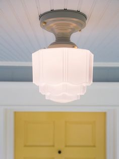 Vintage Rewired Grey Skyscraper Ceiling Light Fixture Art Deco Schoolhouse  Milk Glass Semi Flush Mount 1920s