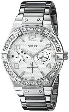 GUESS Womens U0290L1 SilverTone MultiFunction Watch with Genuine Crystal Accents ** Visit the image link more details.