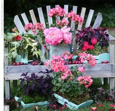 This adirondack bench was used as the backdrop for the outdoor ceremony.