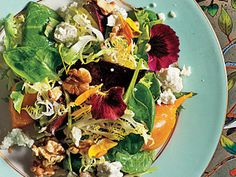 Beets with Walnuts, Goat Cheese, and Baby Greens | Pair roasted beets and goat cheese  with crisp baby greens and crunchy walnuts for a salad that almost explodes with flavor and color.  You can prepare the beets up to two days in advance.