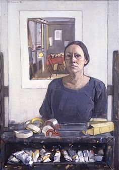 "Mary Beth McKenzie ""Self Portrait (Matisee print and easel)"" 1993 New Britain Museum of American Art Contemporary figurative paint. Selfies, Collaborative Art, Figure Painting, Figure Drawing, Female Portrait, American Artists, Online Art Gallery, Art Images, Art History"