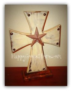 Standing Cross on a base  Antique beige w/antiqued by happygoose, $20.95