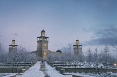 The King Hussein Mosque in Amman, Jordan blanketed with snow. January 11, 2015.