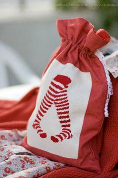 Socks bag. Cross stitch piece on a drawstring bag.