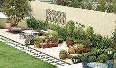 Um jardim italiano com predominância de temperos e frutos. Um banco ao redor da jabuticabeira e uma mesa de pedra para refeiçoes completam o cenário.