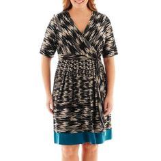 Studio 1® Elbow-Sleeve Tie-Waist Print Dress - Plus   found at @JCPenney