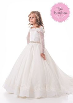 1bc5cf27526 First Communion Dresses The Long Sleeved Floor Length Girls Dress for  Christening