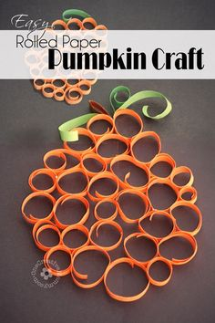 Easy Rolled Paper Pumpkin Craft {Perfect Fall Craft for Kids!} OneCreativeMommy.com #fallcraft #pumpkin #kidscraft