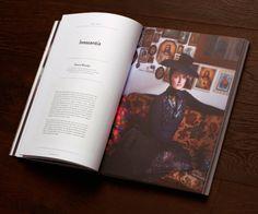 Magazine. Grid. Center. Photo.