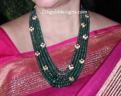 Emarald beads 4 layered long necklace