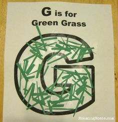 G is for Green Grass printable worksheet {Alphabet Activities for Kids at Roaming Rosie}