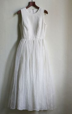 Linen and Chiffon Wedding Dress Ivory Boho wedding by MagpiesShop