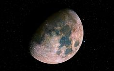 """""""True color picture of our moon, unfiltered by our nitrogen rich blue atmosphere. """""""
