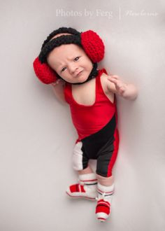 newborn, wrestling singlet, newborn wrestler, newborn in singlet, newborn headgear, wrestling, photos by ferg, funny, cute, baby, newborn photography, singlet