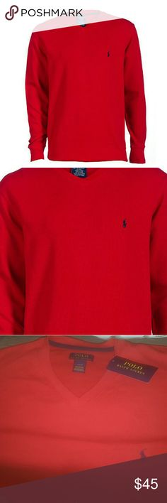 2d575a38 V-neck men's Polo thermal long sleeve Red, ribbed throughout Polo Long  sleeve , stretch material for ultimate comfort. Polo by Ralph Lauren Shirts  Tees ...