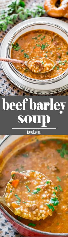 How to make this beef barley soup. Beef Barley Soup - rich, satisfying, comfort in a bowl. A hearty and delicious soup, loaded with beef and veggies and full of fiber. Chili Recipes, Slow Cooker Recipes, Crockpot Recipes, Soup Recipes, Dinner Recipes, Cooking Recipes, Recipies, Crockpot Lunch, Lunch Recipes