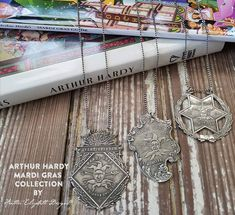 #MardiGras is Feb 13th! Got gifts for your Mardi Gras Valentine? Shop hedesigns.com for the perfect gifts for the Mardi Gras diehard in your life!  Each antique Mardi Gras souvenir finely reproduced from the #ArthurHardy Collection. Heirloom quality sterling silver. Orders over $100 ship FREE >>> hedesigns.com * * * * * #nola #neworleans #mardigras #nolamardigras #twelfthnight #jan6 #mardigrassouvenir #mardigrasantique #nolaantiques