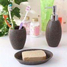 Sepia 3 Pc Bath Set Brown