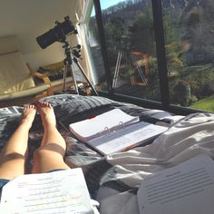 bloodxredxsunset: 18:04 13/04/15 Learning Latin set text on this gorgeous summer's day Feat. An apparently 'minimalist' playlist and the window-wall